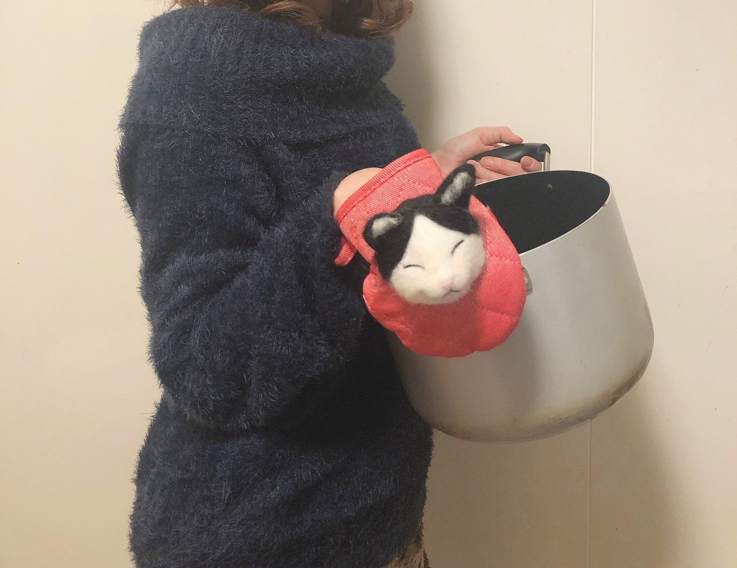 羊毛フェルト ミトン 猫