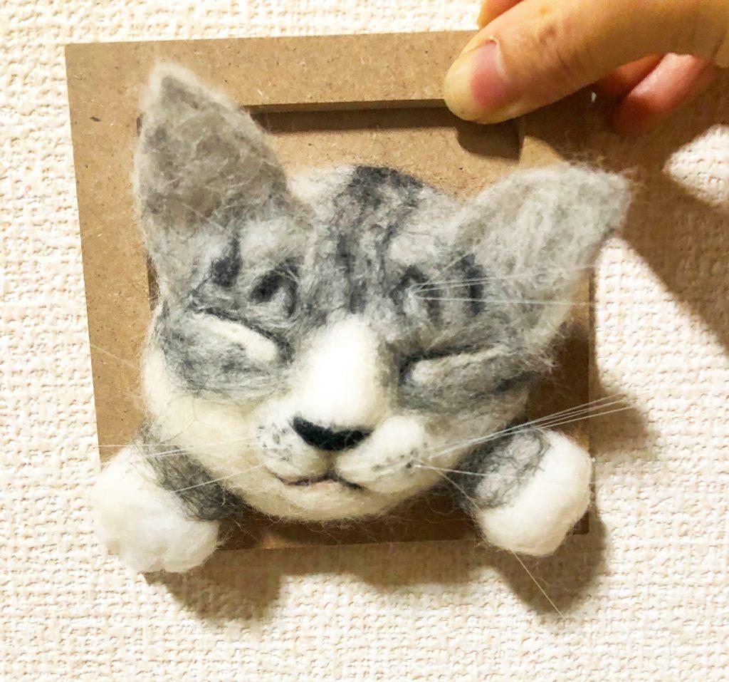 壁かけ猫 羊毛フェルト