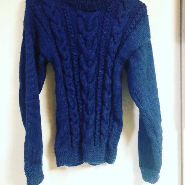 手編みニット セーター アランセーター ネイビー