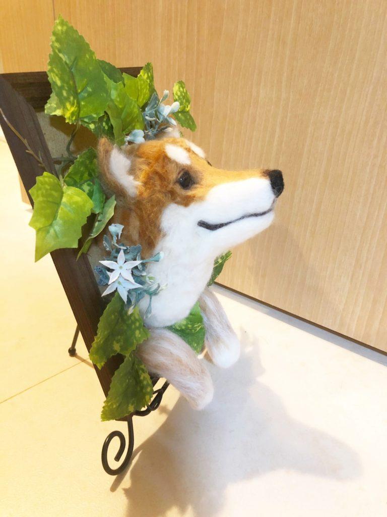 羊毛フェルト フレームから飛び出す柴犬